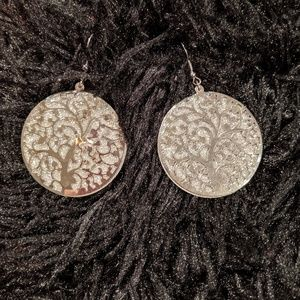 Silver plated round sparkle tree earrings